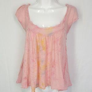 Free people tie dye top, pink blouse, size XS.